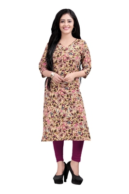 Women's Beige colour Printed Straight Cut Crepe Kurti