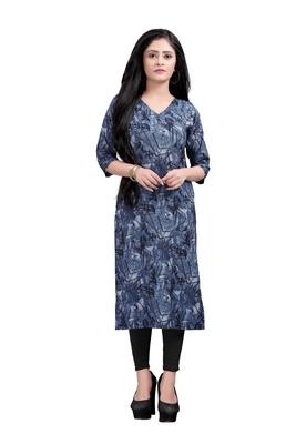 Women's Navy blue colour Printed Straight Cut Crepe Kurti