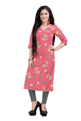 Women's Pink colour Printed Straight Cut Crepe Kurti
