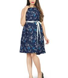 Navy Blue Color Printed American Crepe Western Dresses