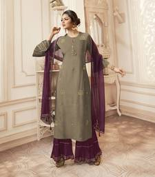grey embroidered viscose ethnic-kurtis