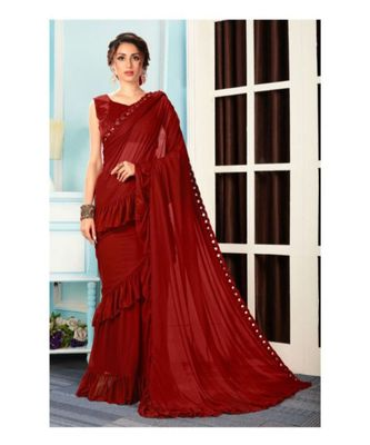 Maroon woven Lycra saree with blouse