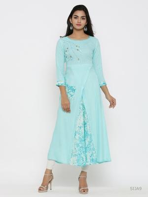 Women's Rayon Tie & Dye Print Applique Work A-line Kurta (Sky Blue)