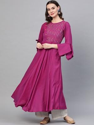 Women's Viscose Embroidered Anarkali Kurta (Purple)