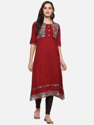 Women's Maroon Cotton Slub Jacket Style kurta