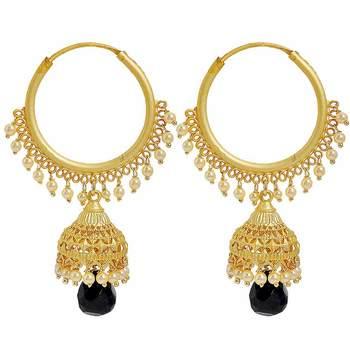 Maayra Designer Hangings Earrings Black Hoops Party Jewellery