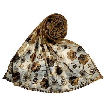 Brown Best Seller Designer Flower Hijab  Stole For Women