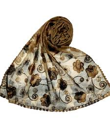 Brown Best Seller Designer Flower Hijab  Stole For Women