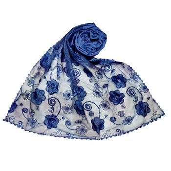 Blue Most Sold Designer Flower Hijab  Stole For Women Choice