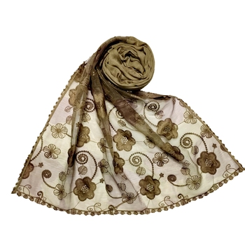 Brown Most Sold Designer Flower Hijab  Stole For Women Choice