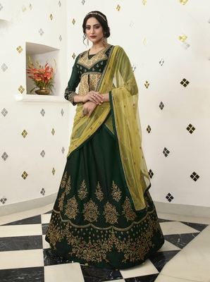Dark Green Embroidered Silk Semi Stitched Lehenga