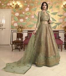 Green Embroidered Jacquard Semi Stitched Lehenga