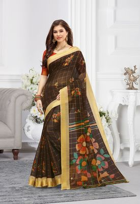 Dark Brown Cotton Printed saree with blouse