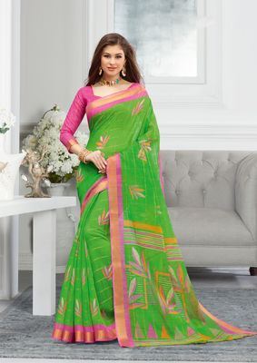 Parrot Green Cotton Printed saree with blouse