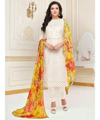 Off-White Embroidered Chanderi Silk Salwar
