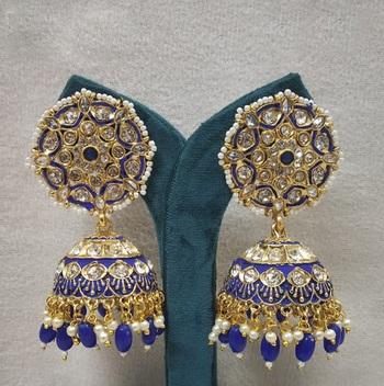 Blue Meenakari Jhumkas