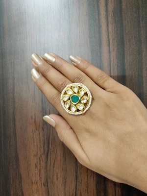 Green Kundan Ring