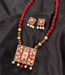 Red Meenakari Kundan Pendant Set