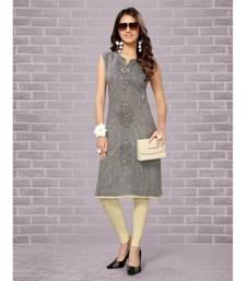 grey South Cotton Linen straight cut kurti