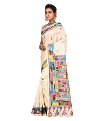 White kantha work art silk saree with blouse