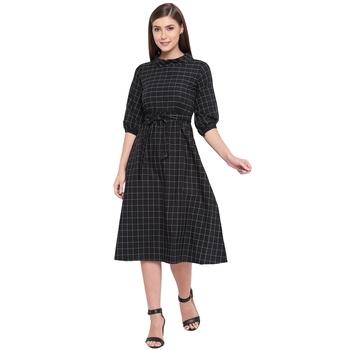Black woven cotton short-dresses