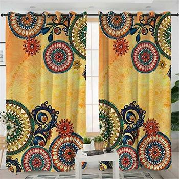 INDIANCRAFT Bohemian Style Mandala Pattern Curtains Room Darkening Window Panel Set for Living, Dining, Bedroom