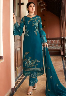Blue embroidered satin salwar
