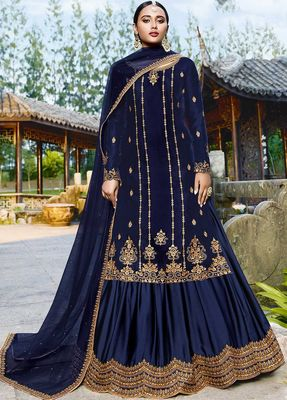 Blue embroidered velvet salwar