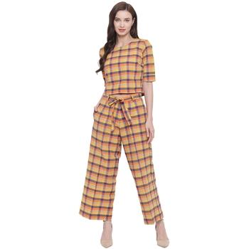 handloom cotton yellow orange blue multi check plazzo pant