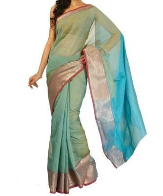 Supernet cotton zari border saree