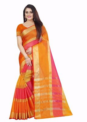 orange and pink cotton printed saree with blouse pis
