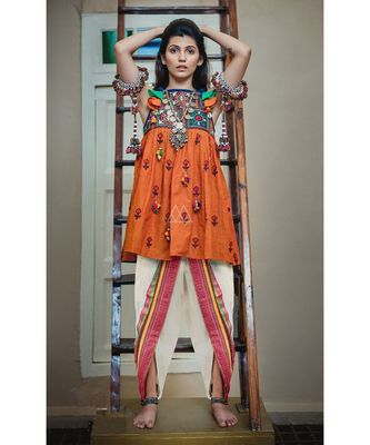 Orange halter neck kedia with hanging latkans and dhoti set