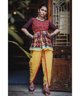 Black stripie floral khadi kedia set with handmade latkan