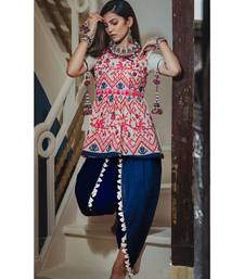 White kedia and tulip pants set with traditional motifs