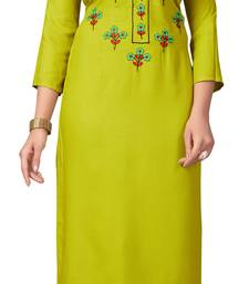Lemon embroidered rayon embroidered-kurtis