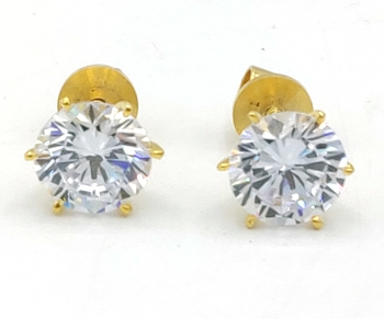 SOLITAIRE LOOK GOLD PLATED AMERICAN DIAMOND STUDS