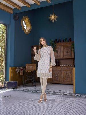 cream embroidered lawn unstitched pakistani kurti