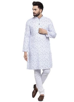 Blue Printed Linen Kurta Pajama
