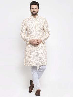 Beige Printed Linen Kurta Pajama
