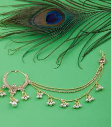 Traditional Gold Plated Diamond Studded Pearl Drop Designer Wedding Nose Ring For Girls And Women Jewellery