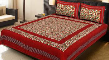 Red Cotton Printed Jaipuri Double Bedsheet with 2 Pillow Covers