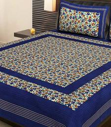 Blue Cotton Printed Jaipuri Double Bedsheet with 2 Pillow Covers