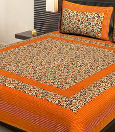 Orange Cotton Printed Jaipuri Double Bedsheet with 2 Pillow Covers