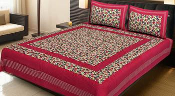 Pink Cotton Printed Jaipuri Double Bedsheet with 2 Pillow Covers