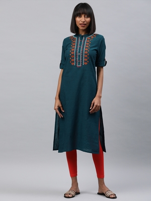 Navy-blue embroidered cotton ethnic-kurtis