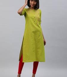 Light-green embroidered cotton ethnic-kurtis