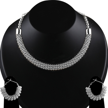 Silvershine Silver Plated Designer Necklace Set For Women Jewellery Set