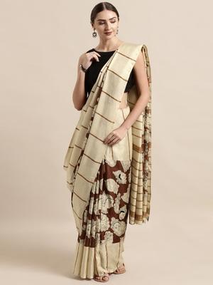 Maroon plain linen saree with blouse