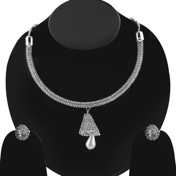 Silvershine Silverplated White Diamond Studded Designer Necklace Set For Women Jewellery