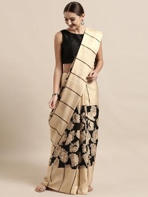 Black plain linen saree with blouse